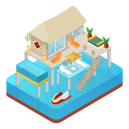 Tropical Bungalow with Jet Ski. Beach Real Estate. Isometric vector flat 3d illustration Illustration