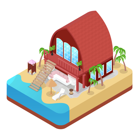 Tropical Bungalow with Palm Trees. Beach Real Estate. Isometric vector flat 3d illustration