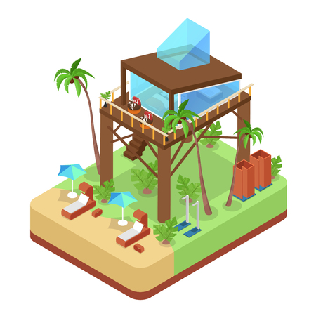 Tropical Bungalow Villa Suit with Palm Trees. Beach Real Estate. Isometric vector flat 3d illustration Illustration