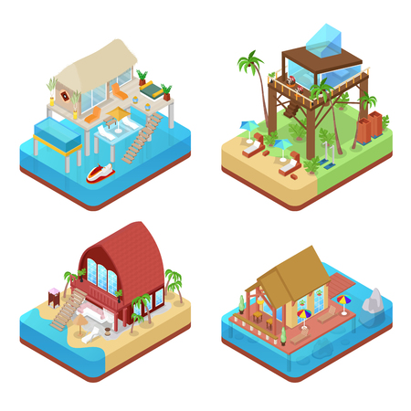 Tropical Bungalows with Palm Trees. Beach Real Estate. Isometric vector flat 3d illustration Фото со стока - 78334883