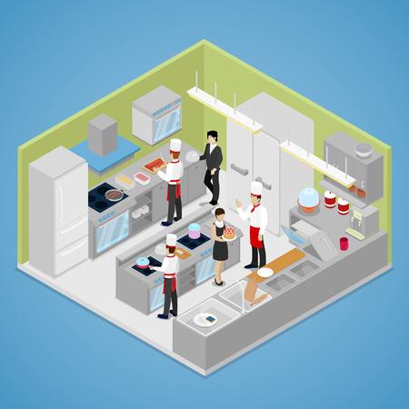 Restaurant Kitchen Interior. Chef Cooking Food. Isometric vector flat 3d illustration Vectores
