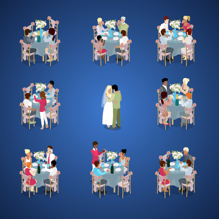 Wedding Ceremony. Just Married Couple First Dance. Guests are celebrating at tables. Isometric vector flat 3d illustration