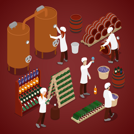 Winery Factory. Wine Production Line. Isometric vector flat 3d illustration 向量圖像