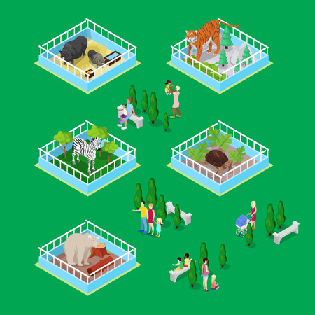 aviary: Children with Parents in Outdoor Zoo Park with Animals. Isometric vector flat 3d illustration Illustration