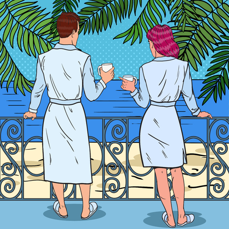 Tropical Paradise. Happy Couple Drinking Coffee at the Balcony of Beach Hotel. Pop Art Vector illustration