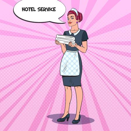 Cameriera femminile con asciugamani puliti. Servizio di pulizia dell'hotel. Illustrazione vettoriale pop art Archivio Fotografico - 78251921