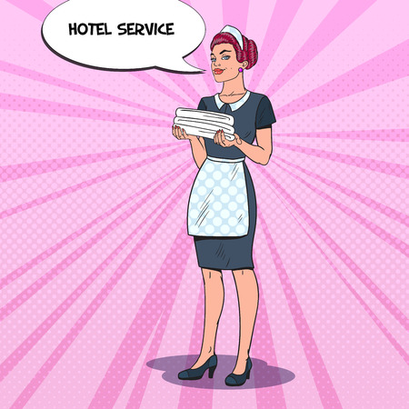 Female Chambermaid with Clean Towels. Hotel Maid Service. Pop Art vector illustration Ilustracja