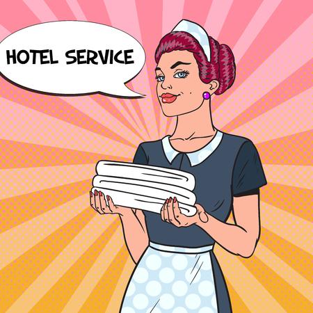 깨끗 한 수건으로 여성 챔버 머 메이 드입니다. 호텔 서비스. 팝 아트 벡터 일러스트 레이션 일러스트