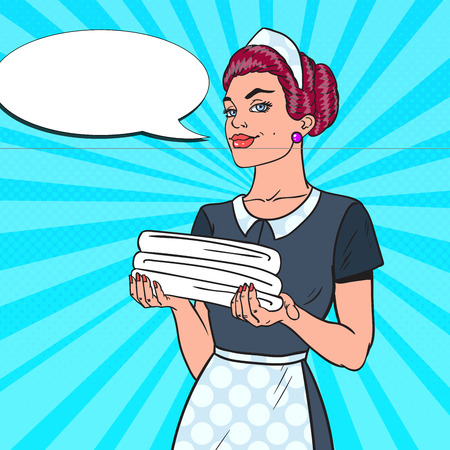 Female Chambermaid with Clean White Towels. Hotel Room Service. Pop Art vector illustration