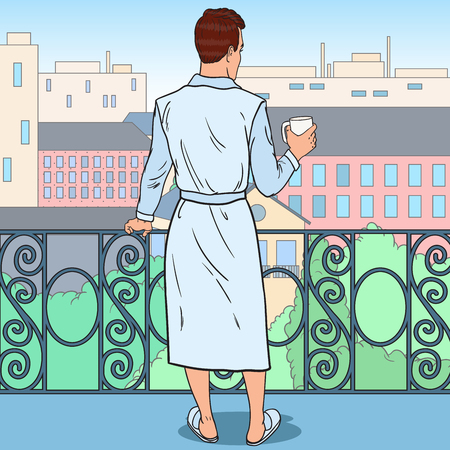 Man Drinking Coffee at the Balcony. Morning in the City. Pop Art vector illustration