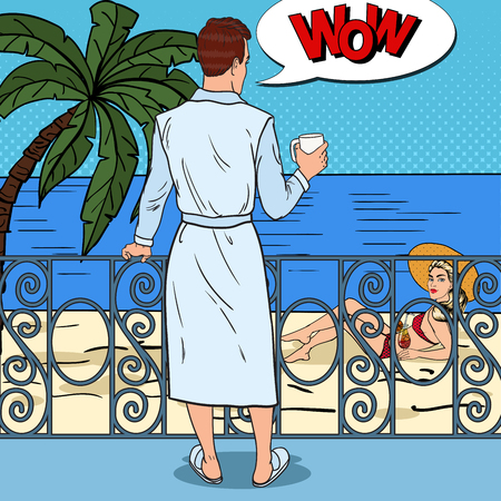 Tropisches Paradies. Mann mit Kaffee am Balkon Blick auf schöne Frau. Pop Art Vektor-Illustration Standard-Bild - 78228332