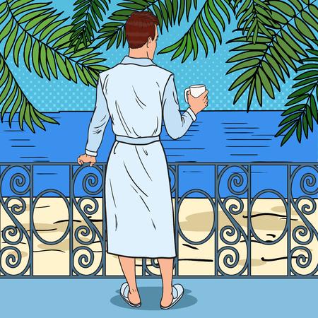 Tropisch paradijs. Man koffie drinken op het balkon van het strandhotel. Pop Art Vector illustratie