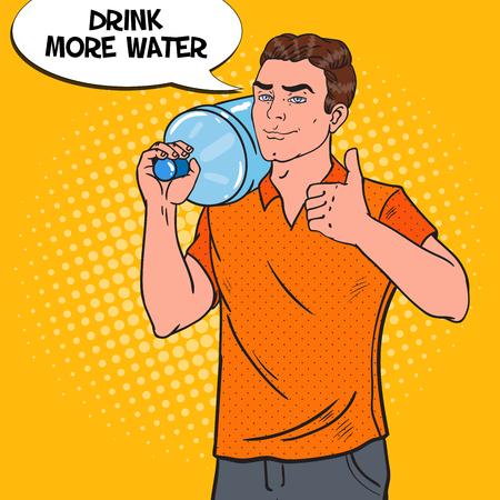 Delivery Service. Deliveryman with Water Jug. Pop Art vector illustration Illustration