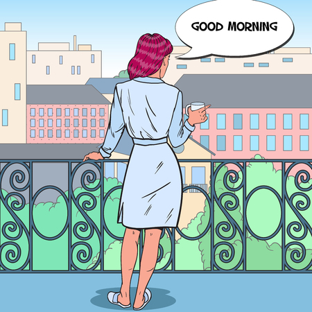 Beautiful Woman Drinking Coffee at the Balcony with Cityscape. Pop Art vector illustration
