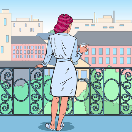 Beautiful Woman Drinking Coffee at the Balcony. Morning in the City. Pop Art vector illustration Çizim