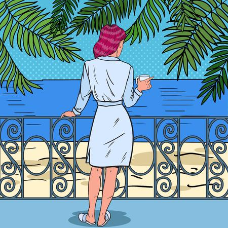 Tropisch paradijs. Mooie vrouw koffie drinken op het balkon van het strandhotel. Pop Art Vector illustratie