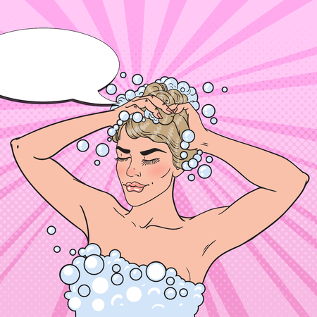 Pretty Blonde Woman Washing her Head with Shampoo. Morning Shower. Pop Art vector illustration Ilustrace