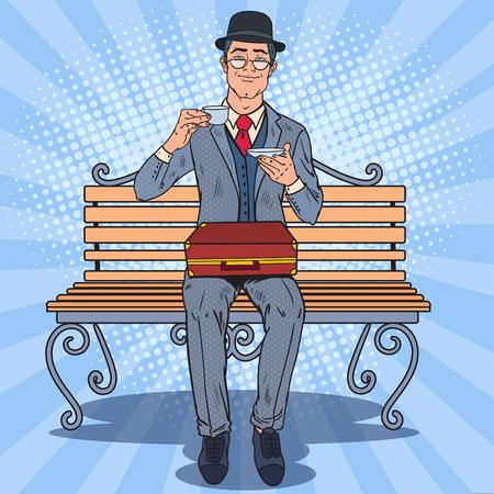 Pop Art Englishman Drinking Tea on the Bench in the Park. Coffee Break. Vector illustration