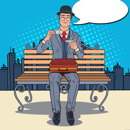 englishman: Pop Art Businessman Drinking Tea on the Bench in the City. Coffee Break. Vector illustration