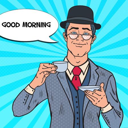 Pop Art Businessman Drinking Tea on the Morning. Coffee Break. Vector illustration Illustration