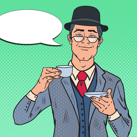 Pop Art English Man Drinking Tea on the Morning. Coffee Break. Vector illustration Illustration