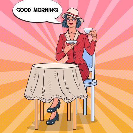 Pop Art Beautiful Woman Drinking Morning Tea in Cafe. Coffee Break. Vector illustration Illustration