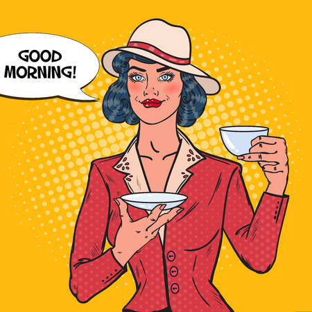 hot woman: Beautiful Woman Drinking Morning Tea in Cafe. Coffee Break. Pop Art Vector illustration