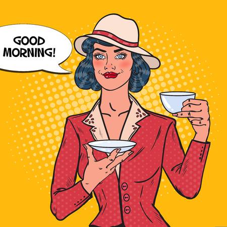 Mujer hermosa que bebe té de la mañana en café. Descanso. Ilustración de Vector de arte pop Foto de archivo - 78606925
