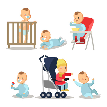 Newborn Baby Boy Cartoons Set. Vector Character illustration