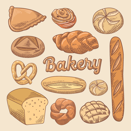 loaf: Bakery Hand Drawn Doodle with Different Bread. Vector illustration Illustration