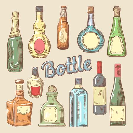 Hand Drawn Set of Different Bottles for Drinks. Vector Doodle Illustration