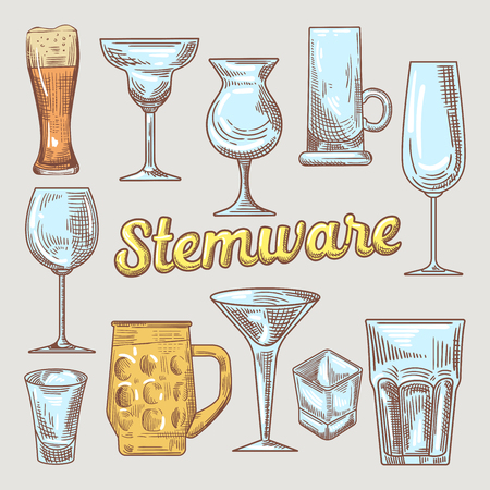 Stemware Hand Drawn Glasses. Different Glasses for Drinks. Vector Doodle