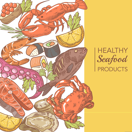 Hand Drawn Seafood Design with Octopus Salmon and Oysters restaurant Menu Vector illustration Çizim