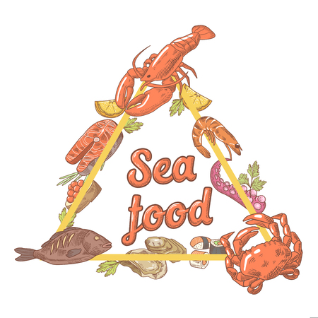 Hand Drawn Seafood Design with Fish Crab and Lobster. Vector illustration Illustration
