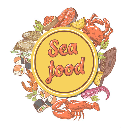 Seafood Design with Fish Crab and Lobster Restaurant Menu Template. Hand Drawn Vector illustration