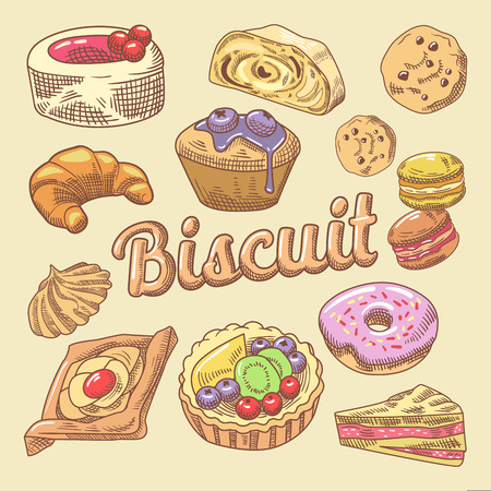 Sweet Food Hand Drawn Doodle with Cupcake, Croissant and Macaroon. Bakery Cakes Set. Vector illustration