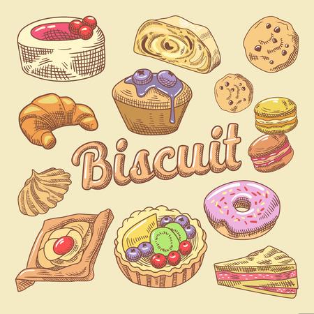 Zoet voedsel Hand getrokken Doodle met Cupcake, croissant en macaroon. Bakkerij Gebakenset. Vector illustratie