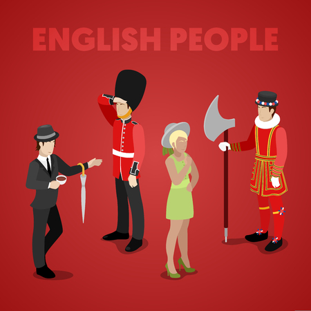 English People with Guardsman, Lady, Gentleman and Bifiter. Isometric vector flat 3d illustration Illustration
