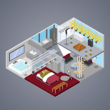 거실 및 욕실과 현대적인 이중 아파트 인테리어. 아이소 메트릭 벡터 플랫 3D 그림
