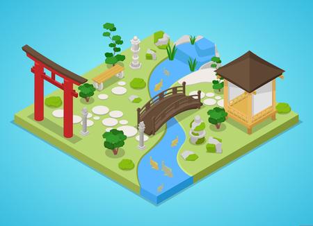 다리와 나무와 전통적인 일본 정원입니다. 아이소 메트릭 벡터 플랫 3D 그림 일러스트