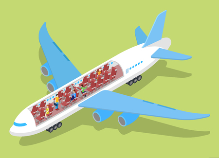 Air Plane Interior with Passengers. Isometric vector flat 3d illustration Illustration