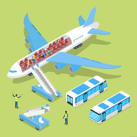 Aircraft Interior with Passengers. Air Plane Boarding. Isometric vector flat 3d illustration Ilustração