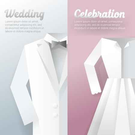 Wedding Ceremony Invitation Card. Paper Cut Out vector illustration Ilustração