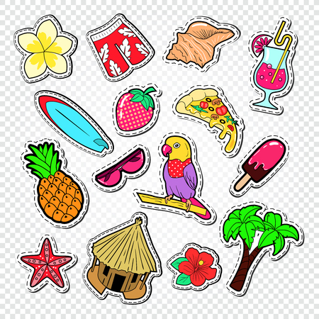 Hello Summer Doodle. Beach Vacation Stickers, Badges and Patches with Palm Tree, Parrot and Surf. Vector illustration