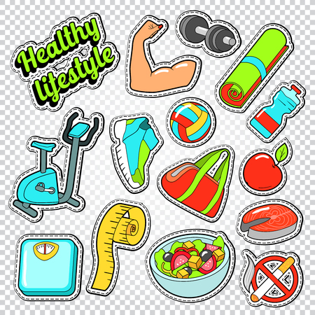 Woman Healthy Life Doodle with Sport Elements and Diet Food. Vector Stickers, Badges and Patches