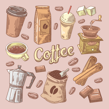 Coffee Hand Drawn Doodle with Beans, Sugar and Chocolate. Vector illustration