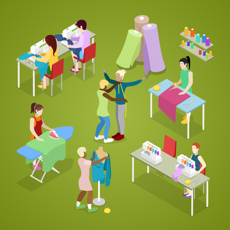 Isometrische Schneiderei Salon Atelier mit Schneider. Nähen und Stricken. Frau macht Kleidung. Vektor flache 3D-Darstellung Standard-Bild - 79079200