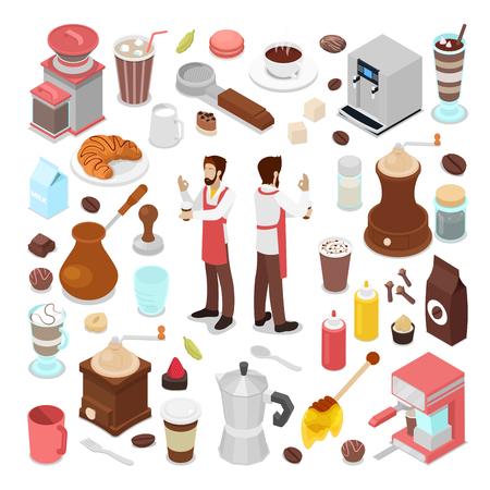 等尺性のバーテンダーとコーヒー カフェ要素のコレクション。ベクトル図  イラスト・ベクター素材