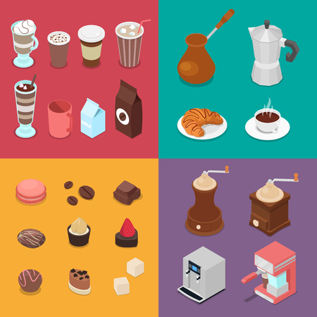 Cafe Elements Set with Candies, Coffee and Different Hot Drinks. Isometric Vector flat 3d illustration