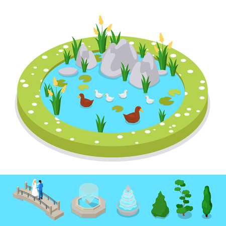 Isometric City Park Composition with Water Pond and Ducks. Vector flat 3d illustration Illustration